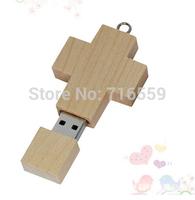 2015 Hot Wooden Cross USB flash drive 16GB 32GB wood Memory stick Pen drives 64GB 8GB gift