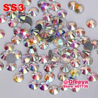 SS3 (1.3-1.5mm) Nail Art Rhinestone Crystal AB Color Non Hotfix Flatback Rhinestone DIY Nail Decoration Phone Glue On Rhinestone