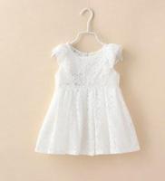 2015 Summer New children lace princess dress girls falbala fly sleeve lace hollow vest dress kids clothes A5465