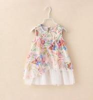 2015 Summer New children vest princess dress girls printing chiffon splicing tulle dress brand kids clothes A5466