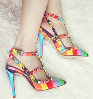 Free Shipping multicolour genuine leather rivet pointed toe thin heels sandals high heels sandals lx2228