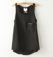2015 European Style Women Shirt O-neck Slim Sleeveless Solid Chiffon Shirt Vest Spring  Summer Brief Casual Tops Blouse CL2416