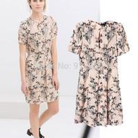 Summer and autumn women new ink pink flowers floral print short sleeve pleated waist dress