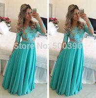 Champagne Tulle Green Appliques Long Sleeve Prom Dress 2015 A line Evening Dress Floor Length vestidos de festa