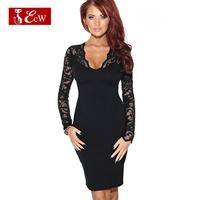 ECW NEW 2015 Fashion Bandage Party Dress Lace Slim Low-Cu Ntovelty Women Dress Hollow V-neck Sexy Women