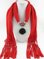 Hot Sale Fashion Design New 11 Colors Women/Lady's Jewelry Cotton Scarf Necklace Scarves Black Rose Pendant Scarves