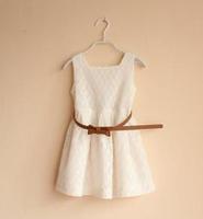 2015 Summer New children lace princess dress girls belt lace hollow vest dress kids clothes red white A5459