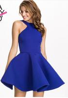 2015 new spring and summer Hang off--shoulder neck temperament Stereo fleabane bitter fleabane dress