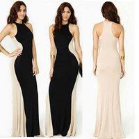 Vestidos Femininos Casual Dress Women 2014 New Fashion Ladies Summer Long Dresses Black Patchwork Maxi Floor-Length Evening Dres