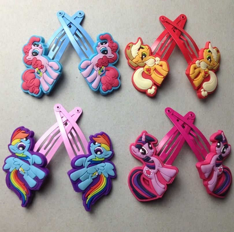 Children Hair Accessories my little pony Hair Clip Girls Cartoon Kids Hairpins 8Pcs/Lot=4 pair Free Shipping(China (Mainland))