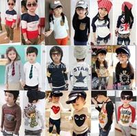 100% cotton 2015 children t-shirt child tops tees kids clothes boys blouse girls long sleeve t shirt  9 models