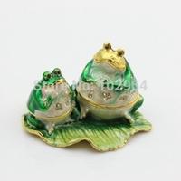 Free Shipping Frog Metal Small Trinket Box Jeweled Enamel Trinket Box