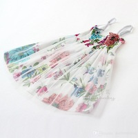 2015 Summer New children princess dress girls flowers printing tulle suspender dress kids clothes A5467