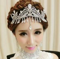 New arrival bridal accessories Korean style hair jewelry gem crown tiara earrings wedding accessories jewelry sets 0177