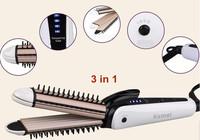 Wholesale 3 in 1 Hair Straightener Hair Curler Tourmaline Ceramic Straightening Curling iron Hair Styling Tools