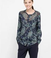 2015 Spring Women Long Sleeve Cotton Vintage Flower Print Blouse Desigual Blusas Tops Femininas Elegant Lady Tropical Blouses