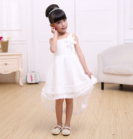 The new tail wedding flower girl princess dress dinner dress Korean style baby dress free shipping