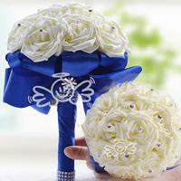 Ivory Rose Bridal Wedding Bouquet  Royal Blue Ribbon Crystal Pearl Silk Rose Wedding Flowers Bouquet De Noiva Rosa WF001