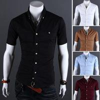 Men Shirt British Style Short Sleeve 2014 New Solid Classic Cultivating Shirt Mens Camisa Masculina Men's Clothing Shirts