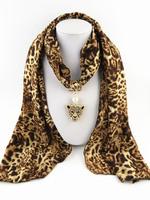 Hot Sale Vintage Design New Women/Lady's Brown Leopard Jewelry Cotton Scarf Necklace Scarves Leopard Head Pendant Scarves
