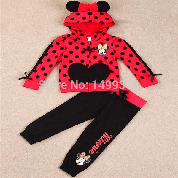 Комплект одежды для девочек Roupas infantil meninas 2015 2PC + , minnie платье для девочек 2015 vestidos roupas infantil meninas dress002