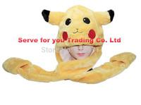 Pikachu Plushy Cartoon Earmuff with Long Mittens Gloves Fuzzy Animal Scarf Hat Cosplay Cap