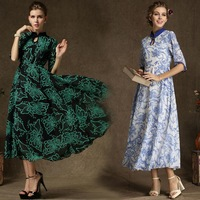 Hot Sale Chiffon Green/Blue Maxi Casual Dresses Women Chinese Vintage Silm Delicate Evening Maxi Long Unique Party Dress S-XL