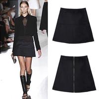 Women Mid Waist Short Skirt New 2015 Fashion Spring Summer Autumn Black A-Line Pencil Skirt Female Faldas Back Zipper Saia XQ01