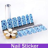 Blue Color Mesh Dot Nail Art Tip Water Transfers Sticker Fashion