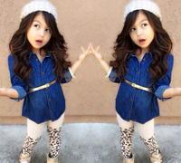 2015 spring new arrival  European style  girls denim shirt with belt+ leopard leggings  1100