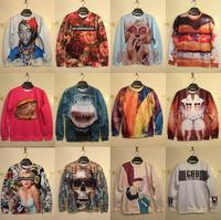 2014 Winter Sexy Women Hoodies Sweaters Marilyn Monroe/cartoon/Shark/Skull/Rose Sweatshirt 3D Printed Casual Men Long Sleeve Top