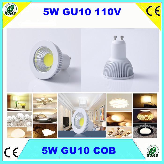 50pcs Dimmable COB LED GU10 Bulb 5W 110V GU10 COB Spotlight White Cover Aluminum Bulbs 500Lm Cold White 6000K 80Degrees DHL free(China (Mainland))
