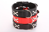 Free shipping good quality big dog large  pet dog leather collar with fluorescent bone black/red/brown three colors 30pcs/lot