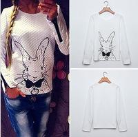 Free Shipping 2015 Women Hoody Spring Autumn Casual Sweatshirts Women Rabbit Printed Hoodies With Zipper Pullovers