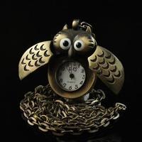 Lovely Cartoon Big Eyes Night Owl Pocket Watch