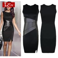 ECW Women Dress Fashion Slim Sexy PU Leather Vent Knee-Length Party Dress Splice Bandage Dress