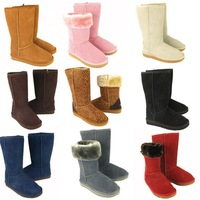 New fashion women leather boots brand snow boots warm winter snow boots 7 colors . Free Shipping