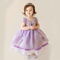 Princess Girls Baby Kids Purple Short Sleeve Palka Dot Costume Cosplay Dress