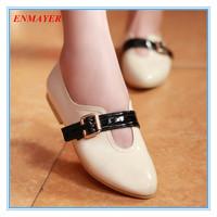 ENMAYER fashion buckle patent solid women flats beige blue black red casual shoes spring autumn comfort women single shoes