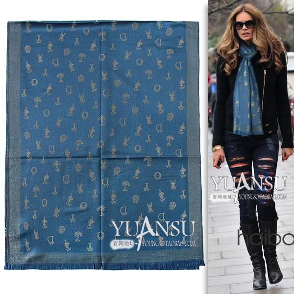 Yuansu Store new arrival 2014 autumn&winter Letter pattern fashion women's blue 180 ultra long silk wool tassel scarf(China (Mainland))