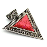 12 Pieces/lot Wholesale Fashion Jewelry Red Resin Large Triangle Scarf Necklace Pendant Accessories Free Shipping AC0353F