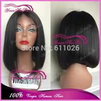 Aliexpress hot selling Grade 6A #1b 100 virgin braizlian human hair short bob full lace wigs natural looking free shipping