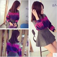 ew 2014 Autumn Winter Women Clothing Long Sleeve Shirt Patchwork Color Slim Elegant OL ladies Short Blouse Tops Blue Y03167