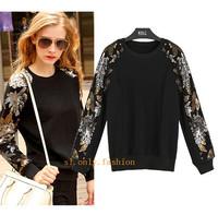 2014 Fashion New Women Sweatshirts Sequin Round Neck  Black Sweatshirt European Pullover