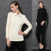 XL-5XL 2014 Winter Autumn Thick Fleece Women Crochet Lace Blouse Shirt Women Big size XXXXXL Blusas Femininas Blouses & Shirts
