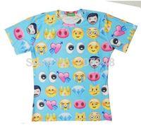 2015 New high quality Women's Men's Short Sleeve T shirt Fashion Blue Emoji 3D t shirt S M L XL XXL