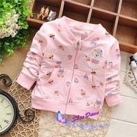 2015 Spring and Autumn  Baby Girls bear cartoon cardigan coat,children's cardigan outwear,4pcs/lot  V1537