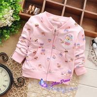 2015 Spring and Autumn  Baby Girls bear cartoon cardigan coat,children's cardigan outwear,4pcs/lot  V1537