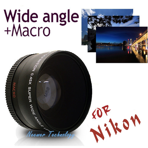 Neewer 52mm Super 0.45X WIDE ANGLE Lens FOR NIKON D3000 D3100 D3200 D5000 D5100 Free Shipping(China (Mainland))