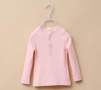 2015 NEW girls casual tees children cotton t shirts long sleeve lace button 7 colors 5 pcs/lot wholesale 2038